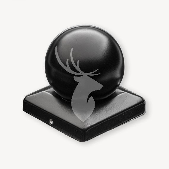 Paalkap met bol zwart